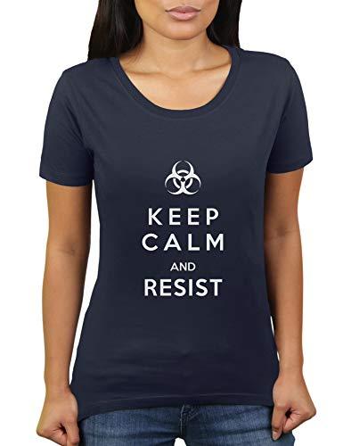 KaterLikoli Keep Calm and Resist Coronavirus CoVid-19 SARS-CoV-2 Corona Virus - Camiseta para mujer azul marino S
