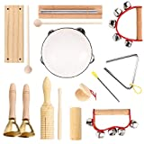Musical Instruments for Toddlers & Kids, Eco-Friendly Wooden Music Set for Toddler 1-3 Preschool Education, Natural Wood Percussion Instruments Montessori Toys for Boys & Girls