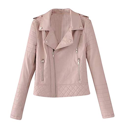 Sumeiwilly-Damen Mäntel Classics Leder Jacke Elegant Bikerjacke Dünn Kurz Outwear Lederjacke mit Schrägem Reißverschluss