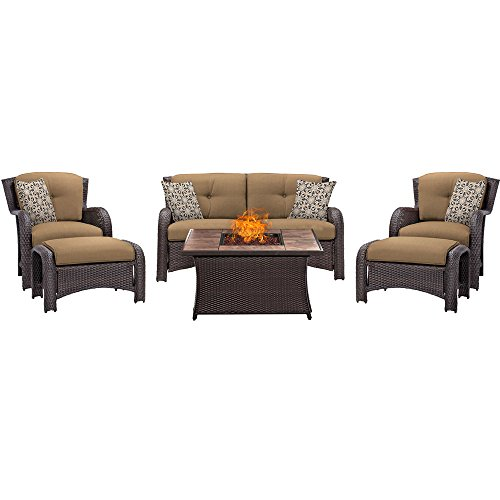 Hanover STRATH6PCFP-TAN-TN 6 Piece Strathmere Lounge Set Table Outdoor Furniture, Country Cork with Stone Top Fire Pit