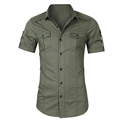SSBZYES Sommer Herrenhemd Herren 100% Baumwollhemd Kurzarmhemd Jeanshemd Herren Arbeitskleidung Kurzarmhemd
