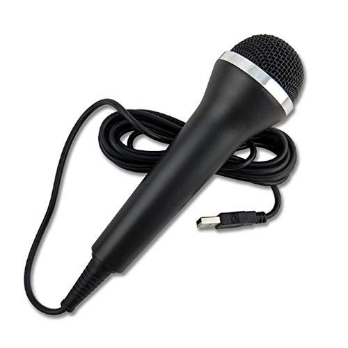 [Sonido de alta calidad] Micrófono de Karaoke con interruptor USB, compatible con PS3/PS3/XBOX ONE/XBOX 360/Wii/PC/PS2, micrófono de alta calidad, interruptor de cable de 3 m (negro)