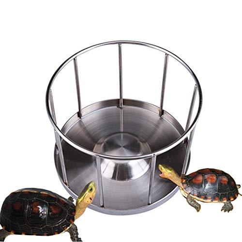EDCV Pet Supplies Home Einfache Reinigung Runde Lebensmittel Geschirrspender Wasserbecken Edelstahl Schildkröte Futterschale Tablett Schildkröte im Freien