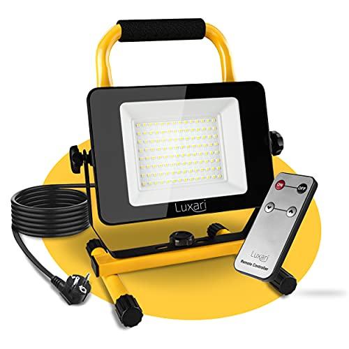Luxari LED Baustrahler mit verbessertem Konzept [60W & 5400LM] – Dimmbare Baulampe IP65 wasserdicht − 5m Kabel & Fernbedienung − Arbeitsleuchte LED Strahler − Energieklasse A+