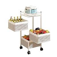 キッチン収納回転式ラック360°回転床リビングルーム多層可動フルーツ野菜スナックスタンド家庭用棚トロリーキッチン、バスルーム収納に最適,3f