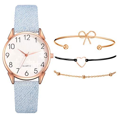Sets de Reloj y Pulsera Mujer Casual Moda Relojes de Cuarzo para Mujer Adolescentes Chica Regalo de San Valentín para Amante,Relojes 1PC y Pulsera 3PC (Z_Azul)