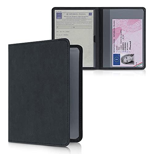 kwmobile Custodia Libretto Circolazione Auto in Simil Pelle Scamosciata - Portalibretto con Scomparti Tessere Patente - Foderina Porta Documenti nero