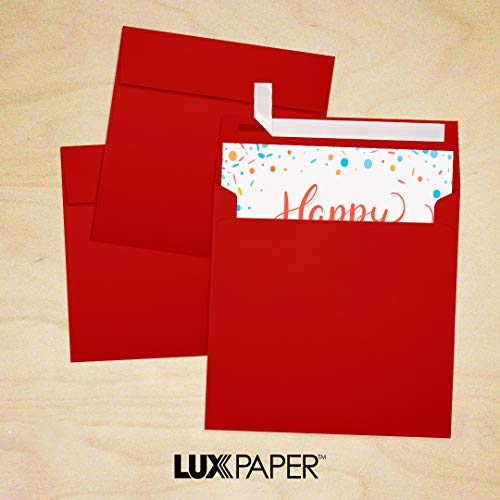 6 1/2 x 6 1/2 Square Envelopes - Holiday Red (50 Qty)   Perfect for Invitations, Announcements, Greeting Cards, Photos   8535-15-50 Photo #9