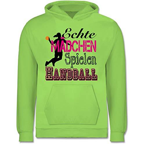 Sport Kind - Echte Mädchen Spielen Handball - 140 (9/11 Jahre) - Limonengrün - Handball Kinder - JH001K - Kinder Hoodie