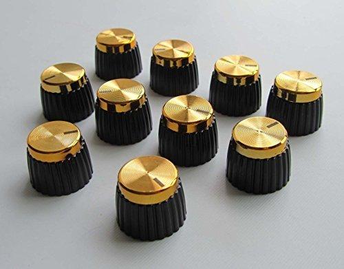 Guitarra AMP pomos parte superior compatible con Amplificador Marshall, 10pcs Negro con oro Top