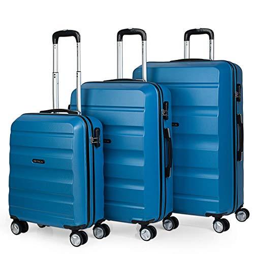 ITACA - T71600 Juego Set 3 Maletas Trolley 50/60 / 70 cm ABS Texturizado. Rígidas, Resistentes y Ligeras. Mango Telescópico, 4 Ruedas Dobles, Color Azul