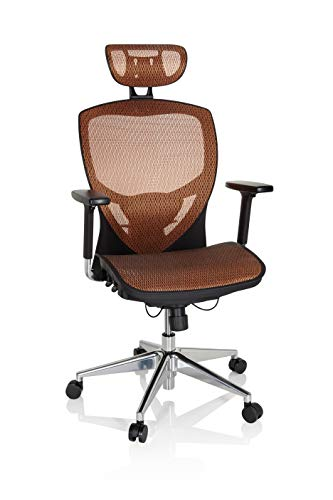 hjh OFFICE 657020 Profi Bürostuhl Venus ONE Netzstoff Schwarz/Orange ergonomischer Drehstuhl, Rückenlehne höhenverstellbar