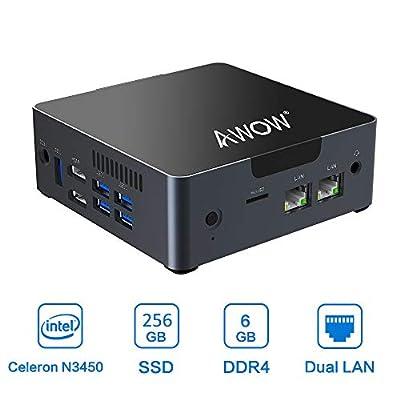Mini PC 6GB DDR4 AWOW Desktop Computer 256GB SSD Windows 10 Intel Celeron N3450 /Dual LAN/ 2.4G+5G Dual Band WiFi/4K HD/Bluetooth/HDMI