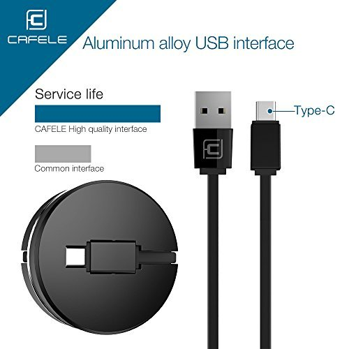 Retractable USB Type C Cable, CAFELE Portable Flexible Charging Data Sync Cable Cord for Samsung Galaxy S8 plus Note 8, Pixel XL, Moto Z Z2, LG G5 G6 V20, Nexus 6P 5X, Black, 3.3ft