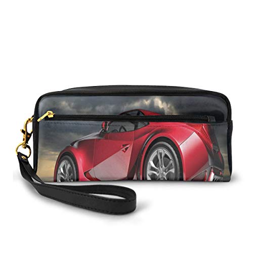 Pencil Case Pen Bag Pouch Stationary,Modern Red Sports Car on Dramatic Sky Backdrop with Dark Cloudscape Strong Engine,Small Makeup Bag Coin Purse