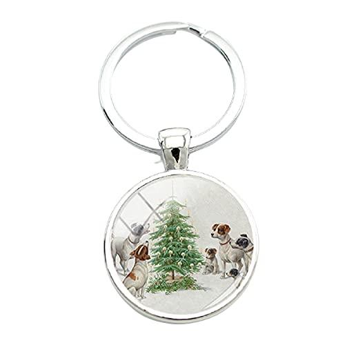Portachiavi vintage con immagine di cani di piccola taglia, in metallo argentato, con cabochon in vetro, per gli amanti degli animali