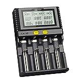 Smart Akku 18650 265650 Ladegerät 4-Slot LCD-Bildschirm 3,0A/Slot insgesamt 12A gleichzeitig für Li-Ion/IMR/INR/ICR/NI-MH/NI-Cd-Akkus(Keine Batterie im Lieferumfang enthalten)(Enthält Keine Batterie