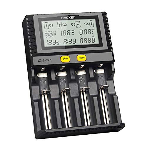 MiBOXER C4-12 Smart Battery 18650 265650 Caricabatterie Schermo LCD a 4 Slot 3,0 A/Slot 12A Totale per batterie Ricaricabili Li-Ion/IMR/INR/ICR/Ni-MH/Ni-CD(Nessuna Batteria Inclusa)
