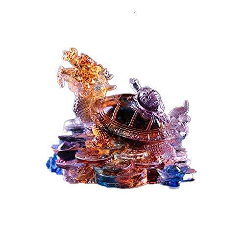 Feng Shui Colored Glaze Dragon Turtle Wealth Protection Statue Longevity Symbol Home Decor(Colorful)