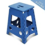 踏み台 SZHTFX 折り畳み ステップ コンパクトスツール 脚立 丈夫で十分安全 大人/子供兼用 折りたたみはしご 簡単収納/開封 キッチン トイレ キャンプ用 (ブルー, 高さ45cm)