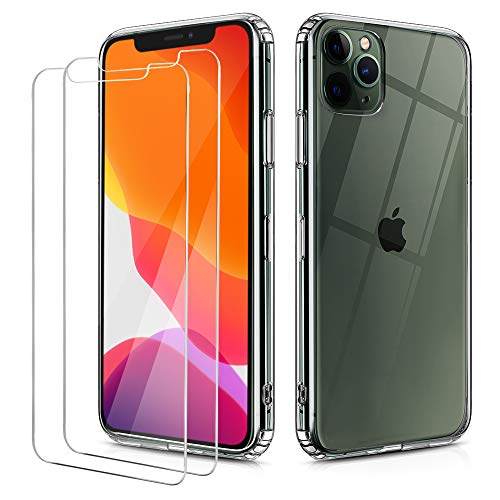 OULUOQI Compatible with iPhone 11 Pro Case 2019, Tempered Glass Screen Protector [2Pack] with Shockproof Clear Case for iPhone 11 Pro Max 5.8 inch.