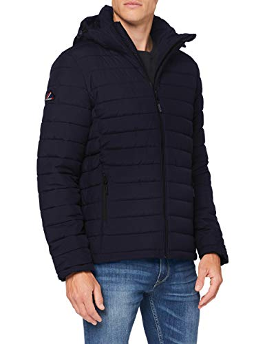 Superdry Mens Hooded Fuji Quilted Jacket, Darkest Navy, L