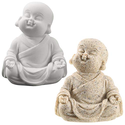 2 Pieces Fish Tank Aquarium Buddha Minimalist Sandstone Buddha Fish Buddha Ornaments for Fish Tank Decor