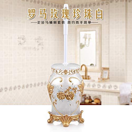 HDOUBR Harz Toilettenbürstengarnitur Badezimmerverdickung Toilettenbürste japanische Badezimmer Dusche Langen Griff weiche Bürste Toilettenbürste, römische Rose Perle weiß