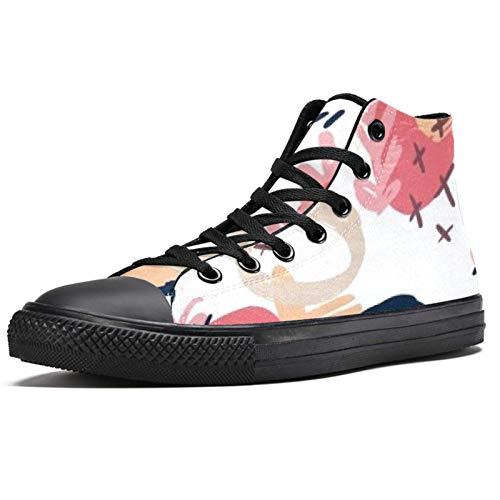 Anmarco pulsera negro alta superior zapatillas para las mujeres adolescentes Gilrs moda encaje hasta zapatos de lona casual escuela caminar zapatos, color Multicolor, talla 38 EU