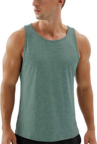 icyzone Camisetas sin Mangas para Hombre – Running Muscle Tank Ejercicio Gimnasio Tops Camisetas atléticas(M,Verde)
