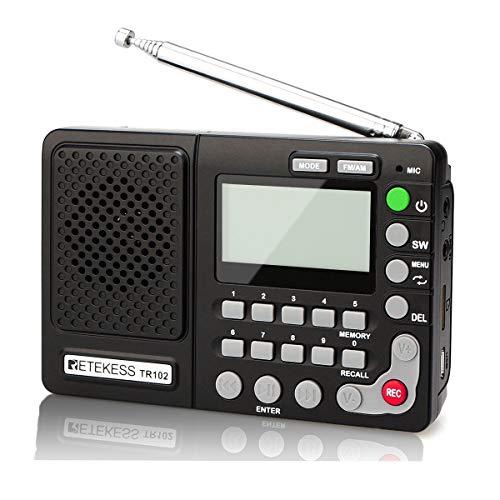 Retekess TR102 Radio Portátil FM/Am/SW Banda Mundial Receptor Reproductor de MP3 Grabador Rec con Temporizador de Apagado (Negro)