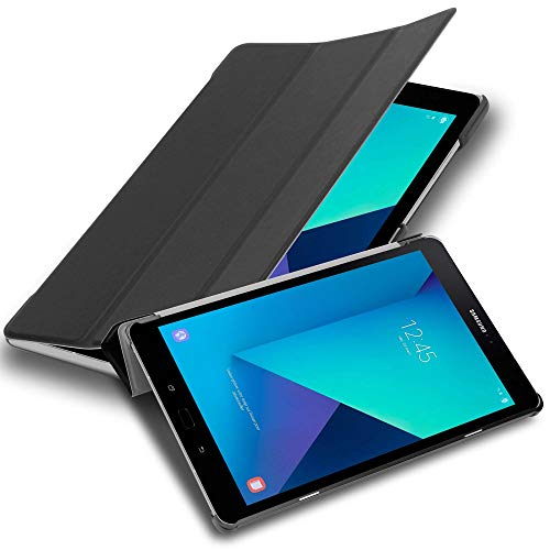 """Cadorabo Funda Tableta para Samsung Galaxy Tab S3 (9.7"""" Zoll) SM-T820N / T825N in Negro SATÉN – Cubierta Proteccíon Bien Fina en Cuero Artificial en Estilo Libro con Auto Wake Up e Función de Suporte"""