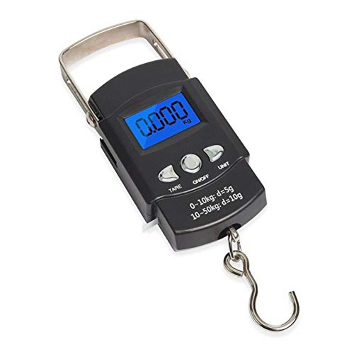 Fishing Electronic Weighing Scales, Fishing Weighing Digital Scale110lb/50kg Backlit LCD Screen Portable,Handheld Luggage Baggage Suitcase Weight Scale with Hook + Tape Measure