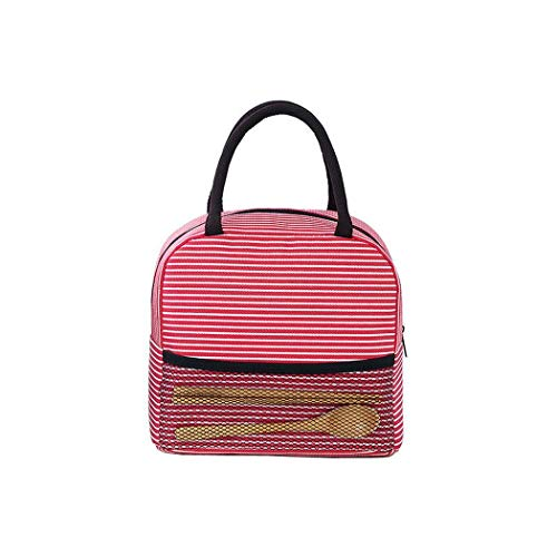 DREZZED Portable Stripe Lunch Bag Thermal Canvas Food Container Tote Handbag Lunch Bags