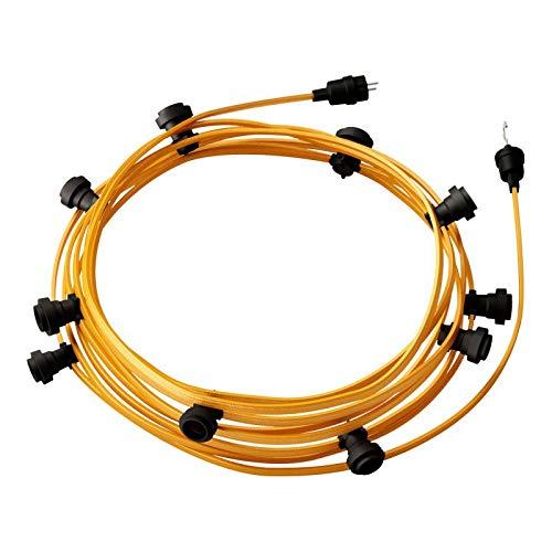 creative cables Guirnalda Lista para Usar de 12,5 MTS con Cable Textil Dorado CM05 10 portalámparas, Gancho y Clavija - Blanco
