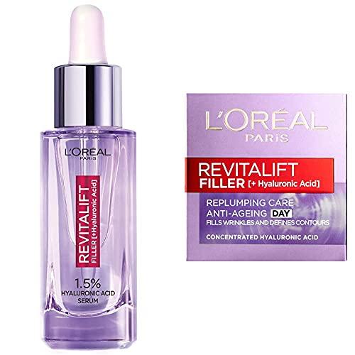 L'Oreal Paris Hyaluronic Acid Serum Revitalift Filler [+Hyaluronic Acid] & Revitalift Filler + Hyaluronic Acid Anti-Ageing Anti-Wrinkle Replumping Day Cream 50 ml