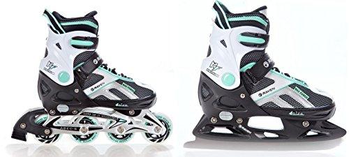 RAVEN 2in1 Schlittschuhe Inline Skates Inliner Pulse Black/Mint verstellbar Größe: 40-43 (25,5-28cm)