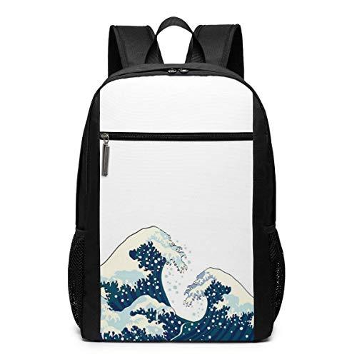 Mochila escolar de viaje, con ilustración japonesa para el océano, mochilas de viaje, escuela, grandes bolsas de hombro, bolsa de ordenador portátil, para hombres, mujeres y niños