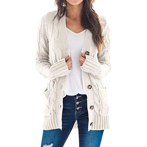 Katenyl Abrigo de suéter con botones giratorios de color liso de ocio diario para mujer Chaqueta cómoda y relajada de moda europea y americana XL