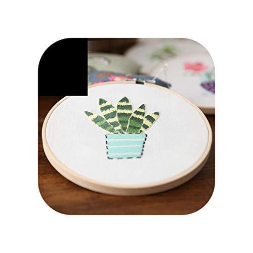 Einfaches Stickset für Anfänger Handarbeitsstich Sukkulenten-Kaktusblüten 15 cm mit Reifen DIY Art Sewing Craft-a-With bamboo hoop