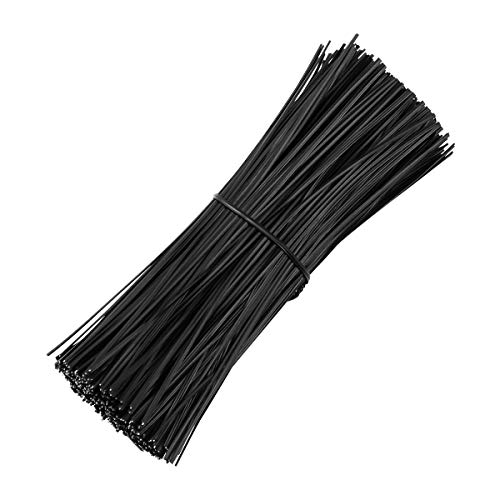 Yardwe 500PCS 6 Inch Plastic Coated Twist Tie for Plants Grape Vine Trellis Wire Ties Black Twist Ties for Bread Candy Bags Cable Tie Organizer (Black)