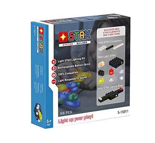 Light STAX System Builder Bausteinset, Bausteine mit Licht und Geräuschaktivierung, kompatibel mit dem STAX System und allen bekannten Bausteinmarken, 66 Teile, vesrchiedene Größen und Farben