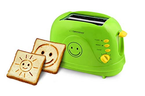 Toaster SMILEY Grün | Er backt zwei Zeichnungen | Automatik-Toaster | Wiederaufwärmen | Brötchenaufsatz | Doppelteschlitzen und Krümelschublade