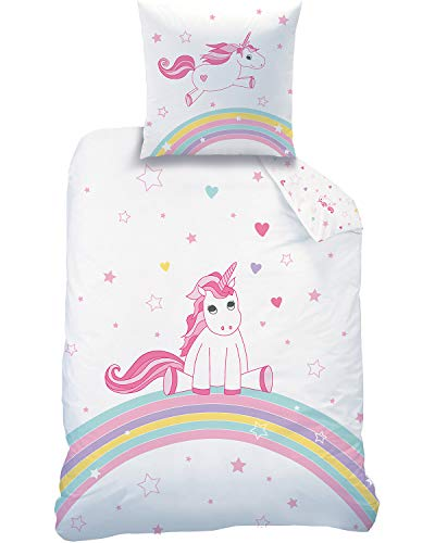 Familando, set di biancheria da letto double-face con unicorno, 135 x 200 cm, 80 x 80 cm, 100% cotone, motivo arcobaleno arcobaleno