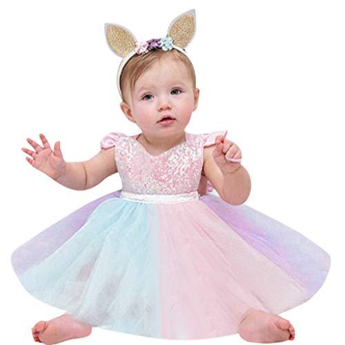 H.eternal - Vestido de Princesa para bebé, sin Mangas, con Lentejuelas, para Fiesta de cumpleaños o en la Playa