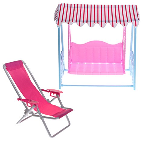 T TOOYFUL Modello di Mobili per Casa delle Bambole a 2 Pezzi - Sedia a Sdraio in Plastica 1/6 E Set Altalena, per Figure di Giocattoli Caldi, per Bambole Blythe