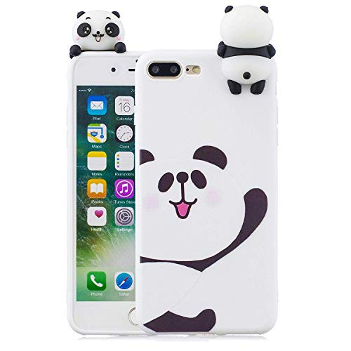 LAXIN Cute 3D Panda Case for iPhone 7 Plus,Ultra Slim Fit Soft Silicone Gel Bumper Shockproof Protective Cartoon Phone Case with Lovely Animal Pattern for Apple iPhone 8 Plus ,White