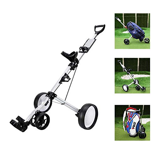 FXQIN Golf Push Cart Swivel Foldable 4 Wheels Pull Cart Golf Trolley with Adjustable Handle Angle, Scorecard, Drink Holder, Foot Brake, Lightweight Golf Carts, Easy to Open/Close
