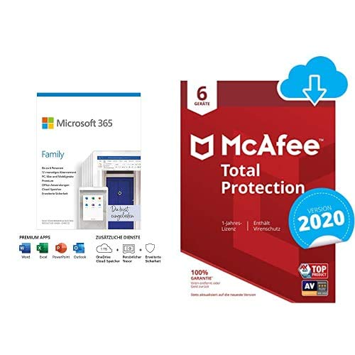 Microsoft 365 Family 6 Nutzer Mehrere PCs/Macs, Tablets und mobile Geräte 1 Jahresabonnement Box + McAfee Total Protection 2020 6 Geräte 12 Monate PC/Mac/Smartphone/Tablet Aktivierungscode per Email