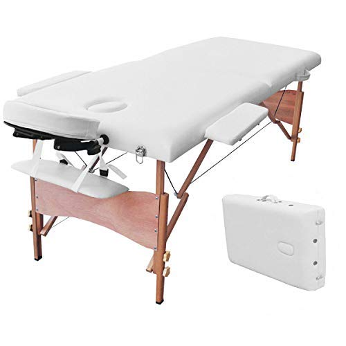 "Giantex Massage Table Portable SPA Bed Facial Beauty, 84""L 2 Fold 34 Wide Face Cradle Arms Adjustable Wood Padded Comfortable Waterproof Oil Resistant, Massaging Tattoo Spa Beds w/Carry Case (White)"